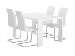 vitt köksbord och matchande vita stolar