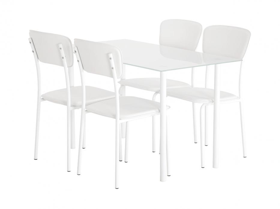 Vitt Koksbord :  matgrupp med 4 st stolar i vitt och ett matcange vitt koksbord