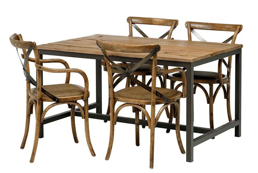 Retro Koksbord : Vintage matgrupp med 4 stolar, populort matbord med bordsskiva i alm