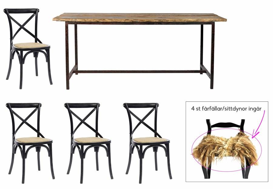 Rustikt Koksbord : Rustikt matbord med bordsskiva i alm, matchande stolar