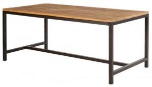 snyggt köksbord skiva i alm och underrede i järn.