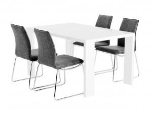 matgrupp med matbord och 4st gråa matstolar.