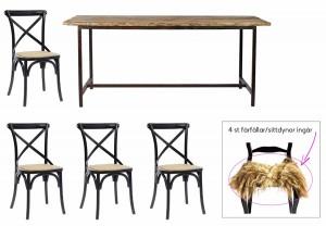 rustik matgrupp med 4 matchande stolar.