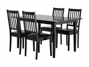 Svart köksbord i trä med 4st matchande svarta köksstolar.