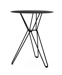 litet matbord runt svart i stål